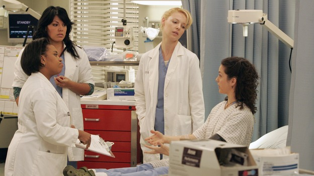GREY'S ANATOMY - &quot;Walk on Water&quot; - Beginning February 8, Grey's Anatomy enters a three-episode story arc that will challenge the interns of Seattle Grace -- and &quot;Grey's&quot; fans as well -- like never before. &quot;Walk on Water&quot; airs THURSDAY, FEBRUARY 8 (9:00-10:00 p.m., ET) on the ABC Television Network. Elizabeth Reaser (Independent Spirit Award winner for &quot;Sweet Land&quot;) guest stars as a patient over multiple episodes. (ABC/VIVIAN ZINK)CHANDRA WILSON, SARA RAMIREZ, KATHERINE HEIGL, KALI ROCHA