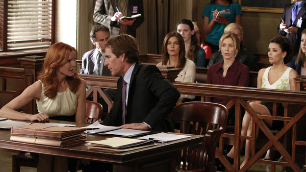 "DESPERATE HOUSEWIVES - ""Give Me the Blame"" - All good things eventually come to an end, and in the two hour finale, ""Give Me the Blame"" / ""Finishing the Hat,"" Trip (Scott Bakula) begs Bree to tell him what really happened the night of Alejandro's murder as her trial begins to go south and it looks like she's about to be convicted; Gaby tries to come up with a solution that will take the burden off of Bree; Susan tries to keep the sale of her house private until she's had a chance to break the news to the ladies; Katherine Mayfair (Dana Delany) returns to Wisteria Lane and offers Lynette an intriguing job opportunity - which could end her chances of reconciling with Tom; the women all agree to take care of Mrs. McCluskey when they discover that she wants to die with dignity at home; Susan finds herself at wits end when Julie goes into labor at the most inopportune time; and Renee is shocked to discover that, as their wedding nears, Ben has been arrested and thrown in jail. ""Desperate Housewives"" ends its successful eight-season run on the ABC Television Network with a splashy two-hour finale event on SUNDAY, MAY 13 (9:00-11:00 p.m., ET). (ABC/RON TOM)MARCIA CROSS, SCOTT BAKULA, TERI HATCHER, FELICITY HUFFMAN, EVA LONGORIA"
