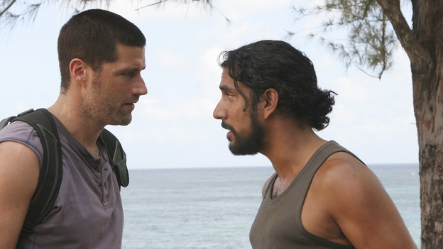 "LOST -- ""Three Minutes"" - A determined Michael convinces Jack and several castaways to help him rescue Walt from ""The Others."" Meanwhile, Charlie struggles with Eko's decision to discontinue building the church, on ""Lost,"" WEDNESDAY, MAY 17 (9:00-10:01 p.m., ET), on the ABC Television Network. (ABC/MARIO PEREZ)MATTHEW FOX, NAVEEN ANDREWS"