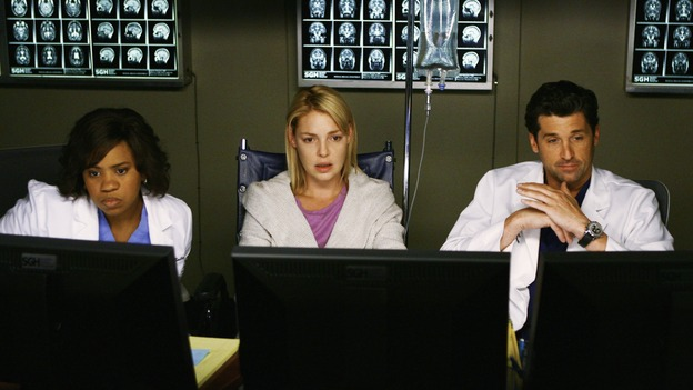 "GREY'S ANATOMY - ""What a Difference a Day Makes"" - Bailey, Izzie and Derek look at some of Izzie's test results, on ""Grey's Anatomy,"" THURSDAY, MAY 7 (9:00-10:02 p.m., ET) on the ABC Television Network. (ABC/SCOTT GARFIELD) CHANDRA WILSON, KATHERINE HEIGL, PATRICK DEMPSEY"