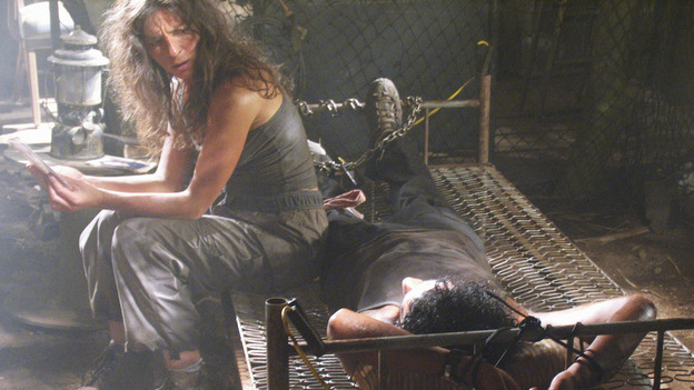 LOST - &quot;Solitary&quot; - Sayid's life is placed in grave danger after he stumbles upon the source of the mysterious French transmission. Meanwhile, Hurley has a ridiculous plan to make life on the island a little more civilized -- and it just might work -- on &quot;Lost,&quot; WEDNESDAY, NOVEMBER 17 (8:00-9:00 p.m., ET), on the ABC Television Network. (ABC/MARIO PEREZ) MIRA FURLAN, NAVEEN ANDREWS