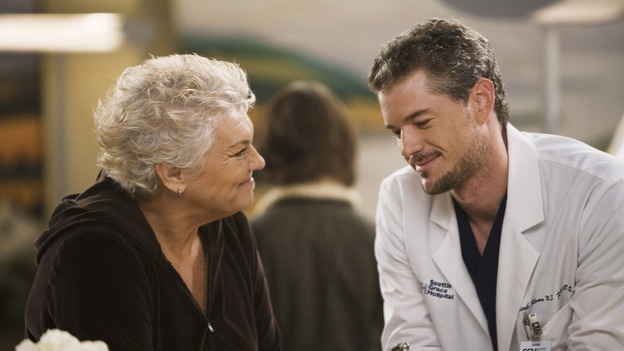 "GREY'S ANATOMY - ""Sympathy for the Devil"" - Derek's mother, Carolyn, suspects Mark is hiding something and convinces him to admit to having an affair with Lexie Grey, on ""Grey's Anatomy,"" THURSDAY, JANUARY 15 (9:00-10:01 p.m., ET) on the ABC Television Network. (ABC/RANDY HOLMES) TYNE DALY, ERIC DANE"