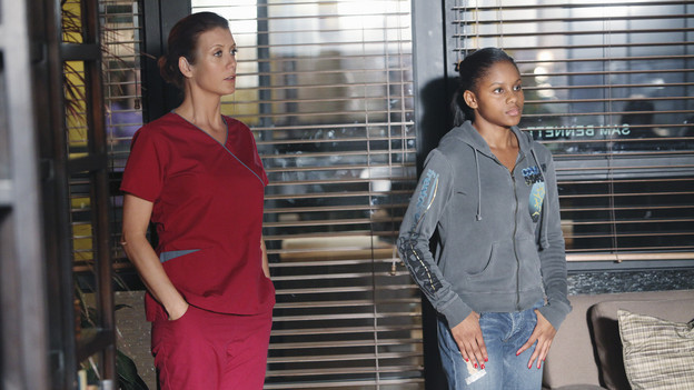 "PRIVATE PRACTICE - ""Best Laid Plans"" - Sam and Naomi are stunned by Maya's shocking announcement, and Naomi's irrational response leaves Sam to pick up the pieces, as Pete challenges Fife on a patient with a cutting edge bionic arm, on ""Private Practice,"" THURSDAY, JANUARY 21 (10:01-11:00 p.m., ET) on the ABC Television Network. (ABC/ADAM LARKEY)KATE WALSH, GEFFRI MAYA"