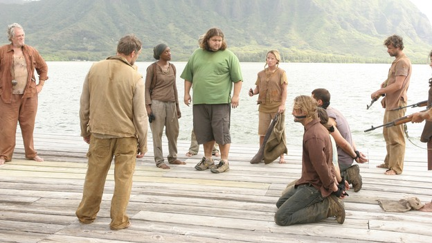 "LOST -- ""Live Together, Die Alone"" - Hurley is set free as Bea, Tom and the Others hold Jack and his party hostage, on the season finale of ""Lost,"" WEDNESDAY, MAY 24 (9:00-11:00 p.m., ET), on the ABC Television Network. (ABC/MARIO PEREZ) M.C. GAINEY, MICHAEL VENDRELL, APRIL GRACE, JORGE GARCIA, JOSH HOLLOWAY, EVANGELINE LILY, MATTHEW FOX"