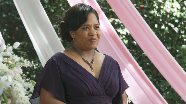 "GREY'S ANATOMY - ""White Wedding"" - As Callie and Arizona's wedding approaches, the couple quickly realize that the day they've been looking forward to is not turning out the way they'd envisioned. Meanwhile Alex continues to make the other residents jealous as he appears to be the top contender for Chief Resident, Meredith and Derek make a decision that will change their lives forever, and Dr. Perkins presents Teddy with a very tempting proposition, on Grey's Anatomy,"" THURSDAY, MAY 5 (9:00-10:01 p.m., ET) on the ABC Television Network. (ABC/RICHARD CARTWRIGHT)CHANDRA WILSON"