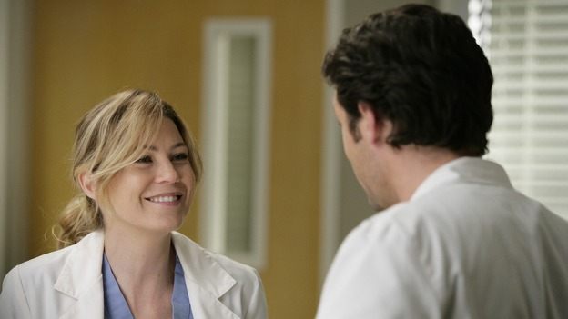 "GREY'S ANATOMY - ""Losing My Mind"" - Dr. Wyatt refuses to let Meredith give up on therapy, Alex learns the truth about Rebecca's medical condition, the Chief insists that Erica perform a risky surgery on his mentor, and after receiving news of Burke, Cristina continues to do things contrary to her nature, going so far as cleaning her always-messy apartment, on ""Grey's Anatomy,"" THURSDAY, MAY 15 (9:00-10:02 p.m., ET) on the ABC Television Network. (ABC/MITCH HADDAD)ELLEN POMPEO, PATRICK DEMPSEY"