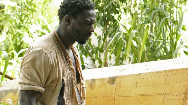 "LOST - ""The 23rd Psalm"" - Mr. Eko interrogates Charlie about the Virgin Mary statue, Claire begins to lose faith in Charlie when she discovers his secret, and Jack is an interested observer when Kate gives the recovering Sawyer a much-needed haircut, on ""Lost,"" WEDNESDAY, JANUARY 11 (9:00-10:00 p.m., ET), on the ABC Television Network. (ABC/MARIO PEREZ) ADEWALE AKINNUOYE-AGBAJE"