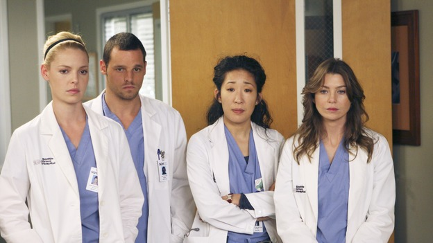 "GREY'S ANATOMY - ""Six Days"" - After a successful operation on his heart, George's father undergoes surgery for his cancer, Thatcher Grey visits Seattle Grace in order to see his new granddaughter, and Meredith discovers that Derek has trouble sleeping soundly, on ""Grey's Anatomy,"" THURSDAY, JANUARY 4 (9:00-10:01 p.m., ET) on the ABC Television Network. (ABC/MICHAEL DESMOND)KATHERINE HEIGL, JUSTIN CHAMBERS, SANDRA OH, ELLEN POMPEO"