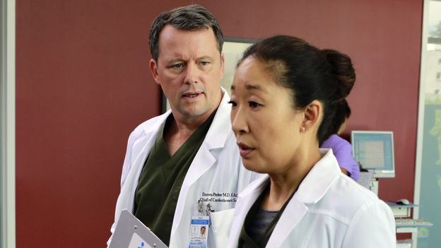 GREY'S ANATOMY - &quot;Love the One You're With&quot; - The survivors from the crash are asked to make an almost impossible decision that will affect the rest of their lives. Meanwhile, tension grows between Jackson and April after they're forced to work together, and Alex tries to restrain himself with one of the interns, on &quot;Grey's Anatomy,&quot; THURSDAY, OCTOBER 18 (9:00-10:02 p.m., ET) on the ABC Television Network. (ABC/RON TOM)STEVEN CULP, SANDRA OH