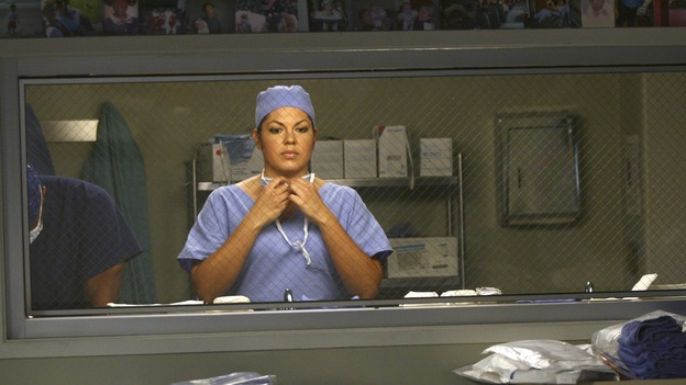 GREY'S ANATOMY - &quot;Great Expectations&quot; - While rumors of the Chief's departure spread among the hospital staff, Bailey proposes the creation of a free clinic, and a Seattle Grace doctor receives a proposal of a different sort, on &quot;Grey's Anatomy,&quot; THURSDAY, JANUARY 25 (9:00-10:01 p.m., ET) on the ABC Television Network. (ABC/SCOTT GARFIELD)SARA RAMIREZ