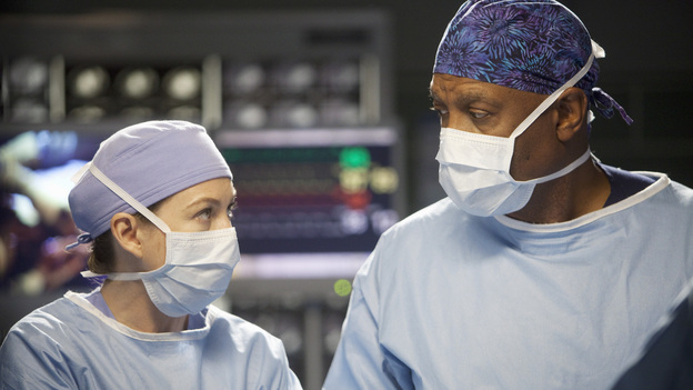 "GREY'S ANATOMY - ""Hope for the Hopeless"" - Richard performs his 10,000th surgery on a pair of bickering sisters (Nia Vardalos and Peri Gilpin) who come into the hospital for a liver transplant; Derek and Lexie take on a neuroblastoma case that has been previously deemed inoperable; Teddy and Cristina cross the line when they go against Owen's orders and try to steal a case from Alex and Dr. McQueen; Ellis Grey's shadow looms as Meredith searches for a specialty; meanwhile Adele is brought into the hospital after she is found wandering the streets, on Grey's Anatomy, THURSDAY, JANUARY 19 (9:00-10:02 p.m., ET) on the ABC Television Network. (ABC/RANDY HOLMES) ELLEN POMPEO, JAMES PICKENS JR."