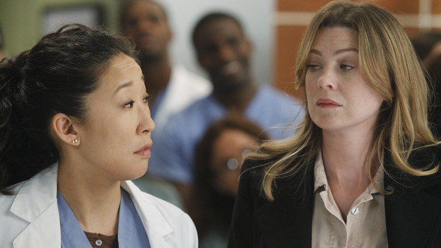 "GREY'S ANATOMY - ""With You I'm Born Again"" -- After an unforgettable and heart-pounding season finale, ""Grey's Anatomy"" returns for its seventh season on THURSDAY, SEPTEMBER 23 (9:00-10:01 p.m., ET) on the ABC Television Network. In the season premiere, the hospital staff is trying to deal with physical and emotional trauma in the wake of the deadly rampage of a vengeful gunman. As Dr. Perkins (James Tupper), a trauma counselor, is brought in to help in the recovery and to assess each doctor's readiness to return to work, Derek makes a spontaneous decision to resign as Chief and rushes back into surgery, taking everything a little too fast, and Cristina buries herself in her wedding planning. (ABC/PETER ""HOPPER"" STONE)SANDRA OH, ELLEN POMPEO"