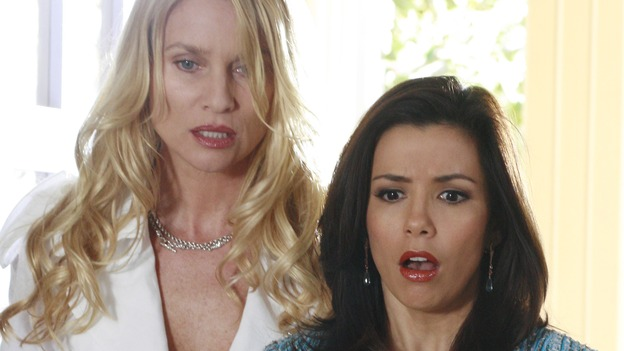 "DESPERATE HOUSEWIVES - ""Dress Big"" - Gaby has a devastating catastrophe at her home, on ""Desperate Housewives,"" SUNDAY, APRIL 8 (9:00-10:01 p.m., ET) on the ABC Television Network. (ABC/RON TOM) NICOLLETTE SHERIDAN, EVA LONGORIA"