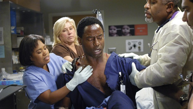 "GREY'S ANATOMY - In the first hour of part two of the season finale of ABC's ""Grey's Anatomy"" -- ""Deterioration of the Fight or Flight Response"" -- Izzie and George attend to Denny as the pressure increases to find him a new heart, Cristina suddenly finds herself in charge of an ER, and Derek grapples with the realization that the life of a friend is in his hands. In the second hour, ""Losing My Religion,"" Richard goes into interrogation mode about a patient's condition, Callie confronts George about his feelings for her, and Meredith and Derek meet about Doc. Part two of the season finale of ""Grey's Anatomy"" airs MONDAY, MAY 15 (9:00-11:00 p.m., ET) on the ABC Television Network. (ABC/GALE ADLER)CHANDRA WILSON, ISAIAH WASHINGTON, JAMES PICKENS, JR."