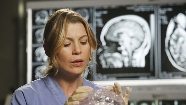 GREY'S ANATOMY - &quot;The Becoming&quot; - The nurses' objections to McSteamy's trysts lead to the instating of a new &quot;date and tell&quot; policy. Meanwhile news of Burke's latest career achievements force Cristina to face her feelings for her ex, Meredith and Derek admit a veteran soldier into their clinical trial, and Callie turns to Sloan in her time of need, on &quot;Grey's Anatomy,&quot; THURSDAY, MAY 8 (9:00-10:02 p.m., ET) on the ABC Television Network. (ABC/VIVIAN ZINK)ELLEN POMPEO