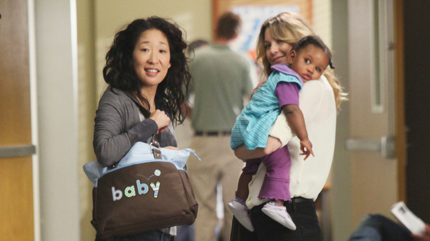 GREY'S ANATOMY - &quot;Free Falling&quot; - In the first hour, &quot;Free Falling&quot; (9:00-10:00 p.m.), the fifth-year residents return for the first day of a year that will make or break their careers: Meredith faces the consequences of tampering with Derek's clinical trial and is terminated at the hospital; April tries to step up to the plate as Chief Resident in the wake of a giant sinkhole in the middle of Seattle; and Cristina and Owen are still at odds over their drastically different feelings for their unborn child. &quot;Grey's Anatomy&quot; returns for its eighth season with a two-hour event THURSDAY, SEPTEMBER 22 (9:00-11:00 p.m., ET) on the ABC Television Network. (ABC/DANNY FELD)SANDRA OH, ELLEN POMPEO