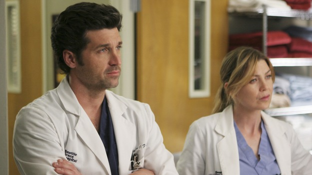 "GREY'S ANATOMY - ""Freedom"" - On the two-hour season finale of ""Grey's Anatomy,"" Meredith and Derek have one last shot at a successful outcome in their clinical trial, as the other surgeons work together to free a boy from a hardening block of cement. Meanwhile, Izzie helps Alex care for an ailing Rebecca, and Lexie discovers critical information about George's intern status, on ""Grey's Anatomy,"" THURSDAY, MAY 22 (9:00-11:00 p.m., ET) on the ABC Television Network. (ABC/MICHAEL DESMOND)PATRICK DEMPSEY, ELLEN POMPEO"