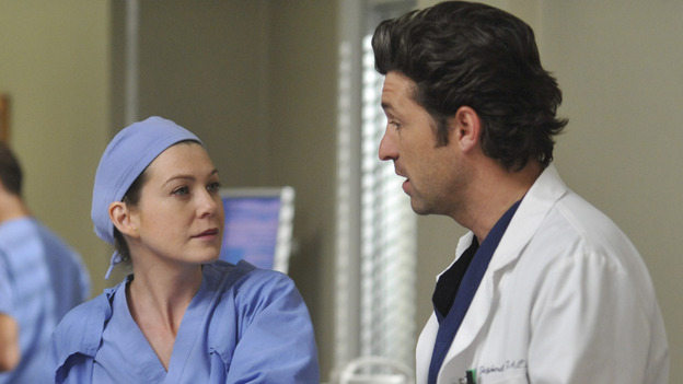 "GREY'S ANATOMY- ""Here Comes the Flood"" - Derek and Meredith discuss a patient, on ""Grey's Anatomy,"" THURSDAY, OCTOBER 9 (9:00-10:01 p.m., ET) on the ABC Television Network. (ABC/ERIC McCANDLESS) SAMANTHA QUAN, ELLEN POMPEO, PATRICK DEMPSEY"