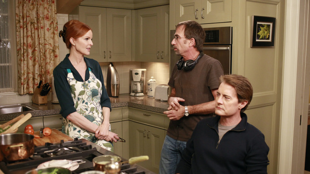 "DESPERATE HOUSEWIVES - ""Get Out of My Life"" - Susan discovers the identity of the father of Julie's baby; Orson makes it his duty to nurse Bree back to health; when Mrs. McCluskey throws Roy out of the house, Gaby takes him in and is reluctant to help get them back together when he proves to be an invaluable disciplinarian to her kids; after getting used to her alone time, Lynette is furious when Porter and Preston are evicted from their apartment and try to move back home; and Mike informs Renee of Ben's dire circumstances with a loan shark, on ""Desperate Housewives,"" SUNDAY, FEBRUARY 19 (9:00-10:01 p.m., ET) on the ABC Television Network. (ABC/RON TOM)MARCIA CROSS, DAVID HAYMAN (DIRECTOR), KYLE MACLACHLAN"