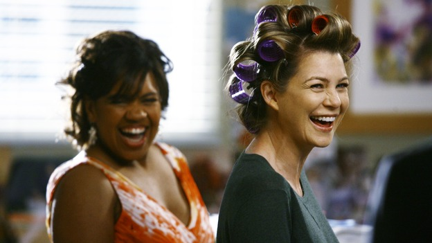 "GREY'S ANATOMY - ""What a Difference a Day Makes"" - Bailey and Meredith have a laugh, on ""Grey's Anatomy,"" THURSDAY, MAY 7 (9:00-10:02 p.m., ET) on the ABC Television Network. (ABC/SCOTT GARFIELD) CHANDRA WILSON, ELLEN POMPEO"
