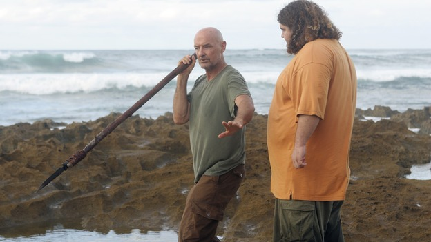 "LOST - ""Flashes Before Your Eyes"" - A suspicious and determined Hurley enlists Charlie to help him wrangle the truth out of Desmond, who has been acting strangely ever since the implosion of the hatch, on ""Lost,"" WEDNESDAY, FEBRUARY 14 (10:00-11:00 p.m., ET), on the ABC Television Network.  (ABC/MARIO PEREZ)TERRY O'QUINN, JORGE GARCIA"