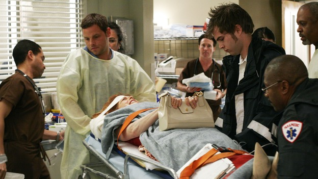 "GREY'S ANATOMY - ""Damage Case"" -- The interns deal with a family involved in a car accident, Derek lets his emotions get the best of him, and Burke and Izzie make a new suggestion to Denny, on ""Grey's Anatomy,"" SUNDAY, MAY 7 (10:00-11:00 p.m., ET) on the ABC Television Network. (ABC/RON TOM)JUSTIN CHAMBERS, FRANCES FISHER, JAMES PICKENS, JR."