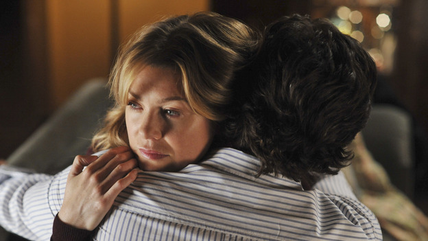 "GREY'S ANATOMY- ""Here Comes the Flood"" - Derek and Meredith hold each other, on ""Grey's Anatomy,"" THURSDAY, OCTOBER 9 (9:00-10:01 p.m., ET) on the ABC Television Network. (ABC/ERIC McCANDLESS) ELLEN POMPEO, PATRICK DEMPSEY"