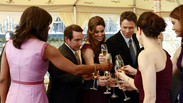 "PRIVATE PRACTICE - ""Something Old, Something New"" - The day has arrived for Cooper and Charlotte to marry, but not everyone is in a celebratory mood, leading the couple to second-guess their wedding plans. Meanwhile, the doctors of Oceanside Wellness are torn between the future of their practice and protecting one of their own, as an investigator is sent to question them about Violet's breach of confidentiality case, on ""Private Practice,"" THURSDAY, MAY 5 (10:01-11:00 p.m., ET) on the ABC Television Network. (ABC/RON TOM) AUDRA MCDONALD, BRIAN BENBEN, AMY BRENNEMAN, TIM DALY, CATERINA SCORSONE, KATE WALSH"
