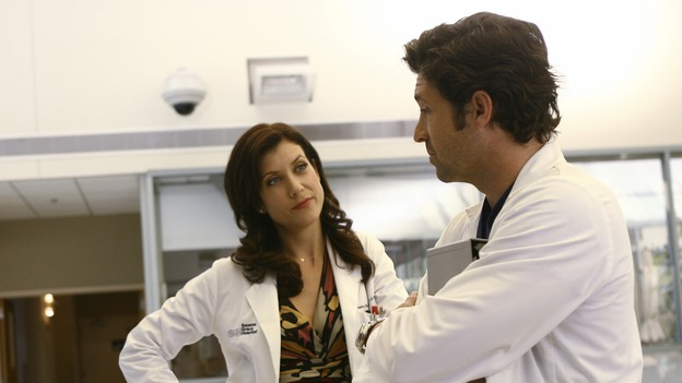 GREY'S ANATOMY - &quot;Piece of My Heart&quot; - Addison returns to Seattle Grace to perform an operation and is taken aback by all of the changes in her old co-workers' lives. Meanwhile Meredith and Derek's clinical trial has its first patient, and Rebecca/Ava returns with shocking news for Alex, on &quot;Grey's Anatomy,&quot; THURSDAY, MAY 1 (9:00-10:01 p.m., ET) on the ABC Television Network.  (ABC/SCOTT GARFIELD)KATE WALSH, PATRICK DEMPSEY