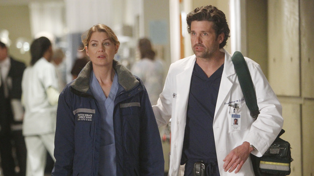GREY'S ANATOMY - &quot;Dark Was the Night&quot; - Teddy puts her husband's life in the hands of her peers when Henry is sent to the OR for surgery and she's called away on another case; Meredith and Derek receive the long-awaited news about Zola; Callie and Jackson come under fire when their patient experiences post-surgery complications; and Meredith and Alex are involved in a life-threatening situation when they travel to a neighboring hospital to tend to a sick newborn, on Grey's Anatomy, THURSDAY, NOVEMBER 10 (9:00-10:02 p.m., ET) on the ABC Television Network. (ABC/JORDIN ALTHAUS)ELLEN POMPEO, PATRICK DEMPSEY