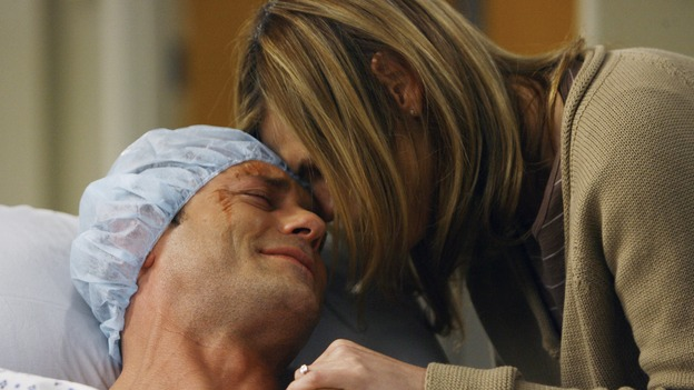 "GREY'S ANATOMY - ""Piece of My Heart"" - Addison returns to Seattle Grace to perform an operation and is taken aback by all of the changes in her old co-workers' lives. Meanwhile Meredith and Derek's clinical trial has its first patient, and Rebecca/Ava returns with shocking news for Alex, on ""Grey's Anatomy,"" THURSDAY, MAY 1 (9:00-10:01 p.m., ET) on the ABC Television Network.  (ABC/SCOTT GARFIELD)JASON O'MARA, CLEA DUVALL"