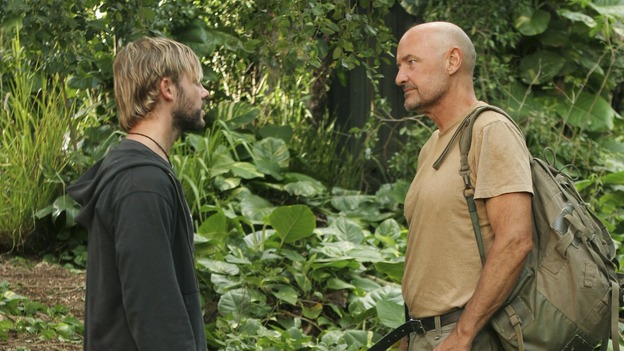 "LOST - ""Fire + Water"" - When Charlie's vividly surreal dreams lead him to believe Claire's baby, Aaron, is in danger, Locke suspects Charlie may be using again. Meanwhile, Sawyer encourages Hurley to act on his attraction to Libby, on ""Lost,"" WEDNESDAY, JANUARY 25 (9:00-10:00 p.m., ET), on the ABC Television Network. (ABC/MARIO PEREZ)DOMINIC MONAGHAN, TERRY O'QUINN"