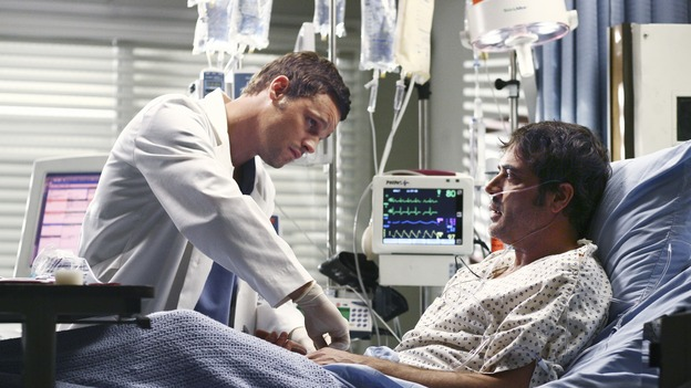 GREY'S ANATOMY - &quot;Superstition&quot; - When a series of deaths occur at Seattle Grace, the uncanny events bring out the doctors' superstitious sides and make Izzie nervous about Denny's surgery. Meanwhile, Derek and Addison discuss making a more permanent living arrangement, and Richard treats a very special, old friend, on &quot;Grey's Anatomy,&quot; SUNDAY, MARCH 19 (10:00-11:00 p.m., ET) on the ABC Television Network. (ABC/SCOTT GARFIELD)JUSTIN CHAMBERS, JEFFREY DEAN MORGAN