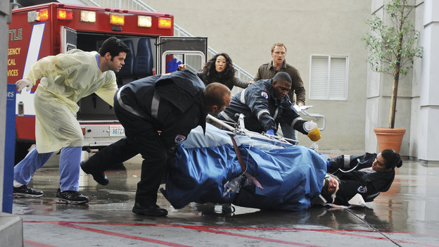 "GREY'S ANATOMY - ""Perfect Little Accident"" - When famous surgeon Dr. Harper Avery is rushed to Seattle Grace-Mercy West, the staff is surprised to discover that one of their own is related to this legend, and his unorthodox request for his surgery causes tensions between Derek and Richard. Meanwhile Callie and Arizona try to help Teddy and Sloan move on from their pasts and find greener pastures, on ""Grey's Anatomy,"" THURSDAY, MARCH 4 (9:00-10:01 p.m., ET) on the ABC Television Network. (ABC/ERIC MCCANDLESS) ROBERT BAKER, SANDRA OH, KEVIN MCKIDD"