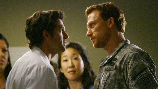 GREY'S ANATOMY - &quot;Dream a Little Dream of Me&quot; - On the two-hour season premiere of &quot;Grey's Anatomy,&quot; Meredith and Derek learn that &quot;happily ever after&quot; isn't easy, a military doctor who brings in a trauma patient catches Cristina's eye, and the Chief and his staff reel at the news that Seattle Grace is no longer nationally ranked as a top-tier teaching hospital, on &quot;Grey's Anatomy,&quot; THURSDAY, SEPTEMBER 25 (9:00-11:00 p.m., ET) on the ABC Television Network. (ABC/SCOTT GARFIELD)SARA RAMIREZ, PATRICK DEMPSEY, SANDRA OH, KEVIN McKIDD