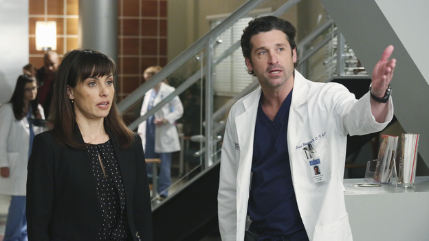 "GREY'S ANATOMY - ""Hard Bargain"" - As the hospital spirals closer to financial ruin, Owen must make some tough decisions, which includes foregoing an expensive surgery that could save the life of a child. Meanwhile, Alex and Jo work together to save the life of an infant, and April asks Jackson for dating advice, on ""Grey's Anatomy,"" THURSDAY, FEBRUARY 14 (9:00-10:02 p.m., ET) on the ABC Television Network. (ABC/RICHARD CARTWRIGHT)CONSTANCE ZIMMER, PATRICK DEMPSEY"
