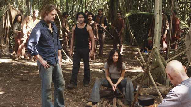 LOST - &quot;Everybody Loves Hugo&quot; - Hurley agonizes over what the group should do next, and Locke is curious about the new arrival to his camp, on &quot;Lost,&quot; TUESDAY, APRIL 13 (9:00-10:02 p.m., ET) on the ABC Television Network. (ABC/MARIO PEREZ) JOSH HOLLOWAY, NAVEEN ANDREWS, EVANGELINE LILLY, TERRY O'QUINN