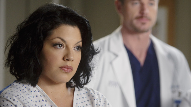 "GREY'S ANATOMY - ""Don't Deceive Me (Please Don't Go)"" - Derek breaks ground on his Alzheimer's clinical trial and Meredith can't help but feel left out; Bailey's attempt to take the hospital into the age of new media with live tweets from the OR does not go over well with the Chief; and Callie, Mark and Arizona must learn to navigate through the pregnancy together, which starts off with Callie driving her new obstetrician (guest star Rachael Taylor) crazy, on ""Grey's Anatomy,"" THURSDAY, FEBRUARY 3 (9:00-10:01 p.m., ET) on the ABC Television Network. (ABC/RANDY HOLMES)SARA RAMIREZ, ERIC DANE, JESSICA CAPSHAW"