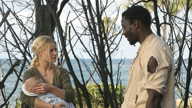 "LOST - ""Fire + Water"" - When Charlie's vividly surreal dreams lead him to believe Claire's baby, Aaron, is in danger, Locke suspects Charlie may be using again. Meanwhile, Sawyer encourages Hurley to act on his attraction to Libby, on ""Lost,"" WEDNESDAY, JANUARY 25 (9:00-10:00 p.m., ET), on the ABC Television Network. (ABC/MARIO PEREZ)EMILIE DE RAVIN, ADEWALE AKINNUOYE-AGBAJE"