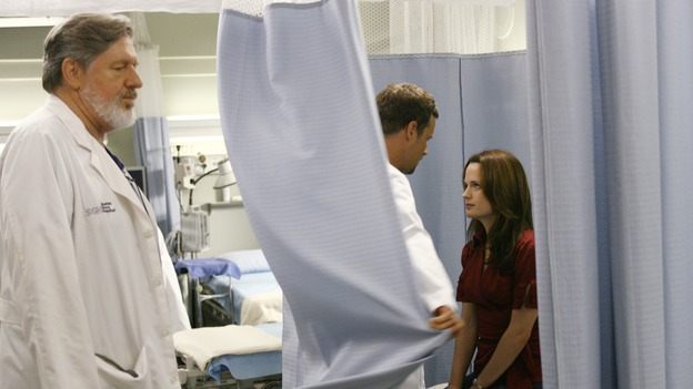 "GREY'S ANATOMY - ""Haunt You Every Day"" - It's Halloween, and the day is full of surprises for the doctors of Seattle Grace - Alex receives an unexpected and welcome visit from his former patient, Ava/Rebecca, Meredith is convinced that her mother's ashes are haunting her, Cristina is snubbed by a surgeon she admires, and Callie announces George and Izzie's affair to their fellow doctors, on ""Grey's Anatomy,"" THURSDAY, OCTOBER 25 (9:00-10:02 p.m., ET) on the ABC Television Network. (ABC/SCOTT GARFIELD)EDWARD HERRMANN, JUSTIN CHAMBERS, ELIZABETH REASER"