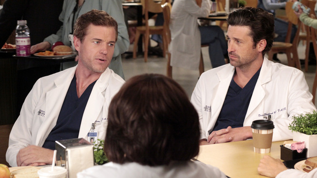 GREY'S ANATOMY - &quot;Let The Bad Times Roll&quot; - The residents agonize over their oral boards, reliving every answer they gave during their exams; Arizona's close childhood friend comes to Seattle Grace for medical help; the doctors work on a patient who is missing one third of his skull; and Julia asks Mark to start a family with her. Meanwhile Catherine tells Richard that one of his residents has failed, on &quot;Grey's Anatomy,&quot; THURSDAY, MAY 3 (9:00-10:01 p.m., ET) on the ABC Television Network. (ABC/RICHARD CARTWRIGHT)ERIC DANE, CHANDRA WILSON, PATRICK DEMPSEY