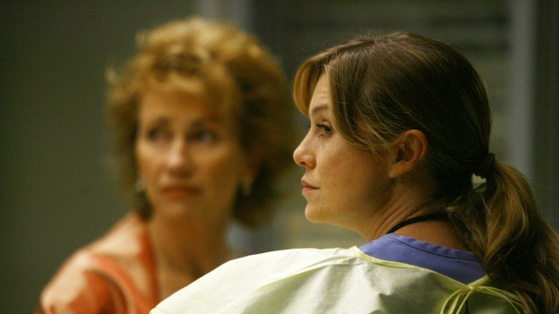 "GREY'S ANATOMY - ""Dream a Little Dream of Me"" - On the two-hour season premiere of ""Grey's Anatomy,"" Meredith and Derek learn that ""happily ever after"" isn't easy, a military doctor who brings in a trauma patient catches Cristina's eye, and the Chief and his staff reel at the news that Seattle Grace is no longer nationally ranked as a top-tier teaching hospital, on ""Grey's Anatomy,"" THURSDAY, SEPTEMBER 25 (9:00-11:00 p.m., ET) on the ABC Television Network. (ABC/SCOTT GARFIELD)KATHY BAKER, ELLEN POMPEO"
