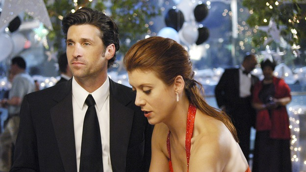 "GREY'S ANATOMY - In the first hour of part two of the season finale of ABC's ""Grey's Anatomy"" -- ""Deterioration of the Fight or Flight Response"" -- Izzie and George attend to Denny as the pressure increases to find him a new heart, Cristina suddenly finds herself in charge of an ER, and Derek grapples with the realization that the life of a friend is in his hands. In the second hour, ""Losing My Religion,"" Richard goes into interrogation mode about a patient's condition, Callie confronts George about his feelings for her, and Meredith and Derek meet about Doc. Part two of the season finale of ""Grey's Anatomy"" airs MONDAY, MAY 15 (9:00-11:00 p.m., ET) on the ABC Television Network. (ABC/GALE ADLER)PATRICK DEMPSEY, KATE WALSH"