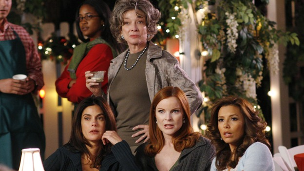 "DESPERATE HOUSEWIVES - ""The Miracle Song"" - The housewives look on at the ensuing scandal, on ""Desperate Housewives,"" SUNDAY, NOVEMBER 26 (9:00-10:01 p.m., ET) on the ABC Television Network. (ABC/RON TOM) TERI HATCHER, DIXIE CARTER, MARCIA CROSS, EVA LONGORIA"