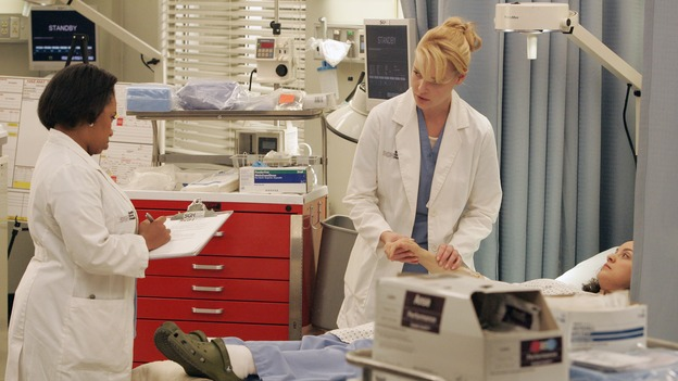 GREY'S ANATOMY - &quot;Walk on Water&quot; - Beginning February 8, Grey's Anatomy enters a three-episode story arc that will challenge the interns of Seattle Grace -- and &quot;Grey's&quot; fans as well -- like never before. &quot;Walk on Water&quot; airs THURSDAY, FEBRUARY 8 (9:00-10:00 p.m., ET) on the ABC Television Network. Elizabeth Reaser (Independent Spirit Award winner for &quot;Sweet Land&quot;) guest stars as a patient over multiple episodes. (ABC/VIVIAN ZINK)CHANDRA WILSON, KATHERINE HEIGL, KALI ROCHA