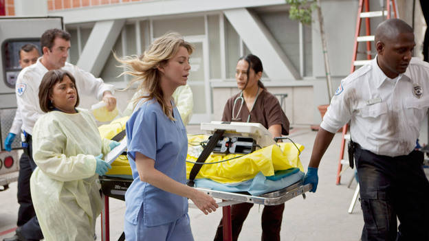 "GREY'S ANATOMY - ""Free Falling"" - In the first hour, ""Free Falling"" (9:00-10:00 p.m.), the fifth-year residents return for the first day of a year that will make or break their careers: Meredith faces the consequences of tampering with Derek's clinical trial and is terminated at the hospital; April tries to step up to the plate as Chief Resident in the wake of a giant sinkhole in the middle of Seattle; and Cristina and Owen are still at odds over their drastically different feelings for their unborn child. ""Grey's Anatomy"" returns for its eighth season with a two-hour event THURSDAY, SEPTEMBER 22 (9:00-11:00 p.m., ET) on the ABC Television Network. (ABC/RANDY HOLMES)CHANDRA WILSON, ELLEN POMPEO"