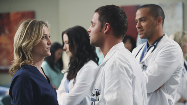 "GREY'S ANATOMY - ""State of Love and Trust"" - As Derek begins his role as interim chief, he faces a potential lawsuit when Bailey and Meredith's patient awakens from anesthesia mid-surgery. Meanwhile, Teddy refuses to place Cristina on her service, as Arizona tests Alex out in Pediatrics, and Mark refuses to speak to a heartbroken Lexie, on ""Grey's Anatomy,"" THURSDAY, FEBRUARY 4 (9:00-10:01 p.m., ET) on the ABC Television Network. (ABC/ADAM LARKEY) JESSICA CAPSHAW, CHYLER LEIGH, JUSTIN CHAMBERS, JESSE WILLAMS"