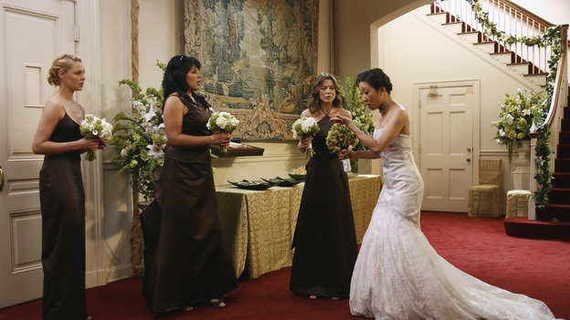 "GREY'S ANATOMY - ""Didn't We Almost Have It All"" - Cristina and Burke's wedding day arrives - along with the interns' first exam results - and a successor to the Chief is named, as Callie and George make a big decision about their relationship, on the Season Finale of ""Grey's Anatomy,"" THURSDAY, MAY 17 (9:00-10:07 p.m., ET) on the ABC Television Network. (ABC/SCOTT GARFIELD)KATHERINE HEIGL, SARA RAMIREZ, ELLEN POMPEO, SANDRA OH"
