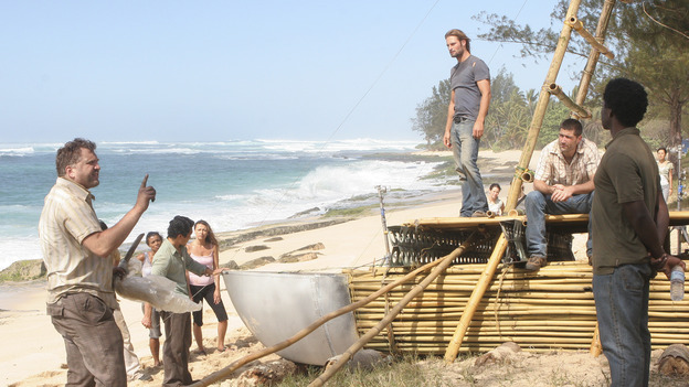 "LOST - ""Born to Run"" - Jack suspects foul play when Michael becomes violently ill while building the raft, on ""Lost,"" THURSDAY, MAY 11 on the ABC Television Network. (ABC/MARIO PEREZ) DANIEL ROEBUCK, DANIEL DAE KIM, JOSH HOLLOWAY, MATTHEW FOX, HAROLD PERRINEAU"