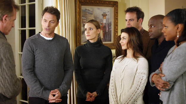 "PRIVATE PRACTICE - ""Home Again"" - After tragedy strikes the Montgomery family, Addison goes home to Connecticut and Sam and her friends decide to join her. Meanwhile, Sheldon and Violet clash when Sheldon's death row patient confesses to a crime that his wife, one of Violet's patients, believes he didn't commit, on ""Private Practice,"" THURSDAY, FEBRUARY 17 (10:01-11:00 p.m., ET) on the ABC Television Network. (ABC/JORDIN ALTHAUS) STEPHEN COLLINS, TIM DALY, KADEE STRICKLAND, PAUL ADELSTEIN, CATERINA SCORSONE, TAYE DIGGS, AUDRA MCDONALD"